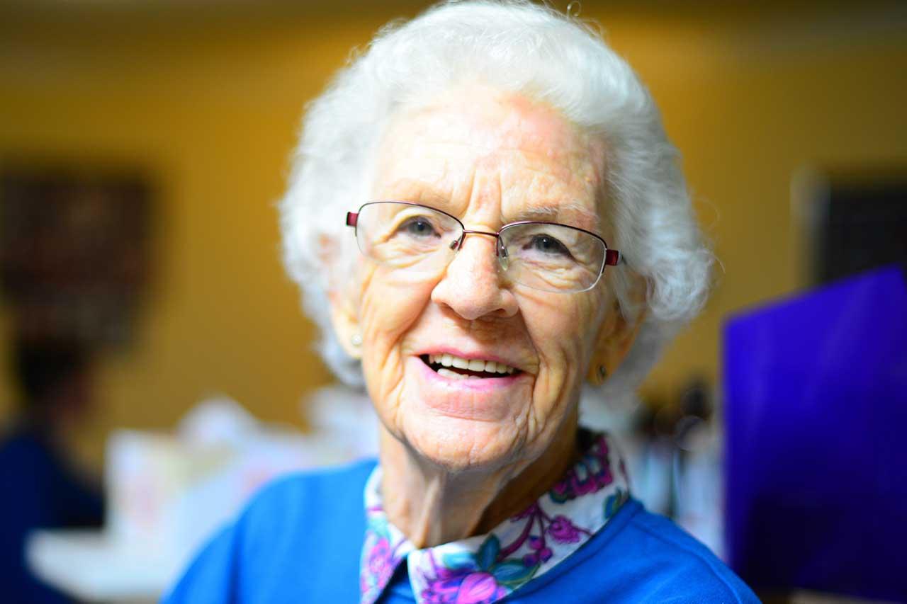 Senior Woman with Low Vision, Wearing Eyeglasses