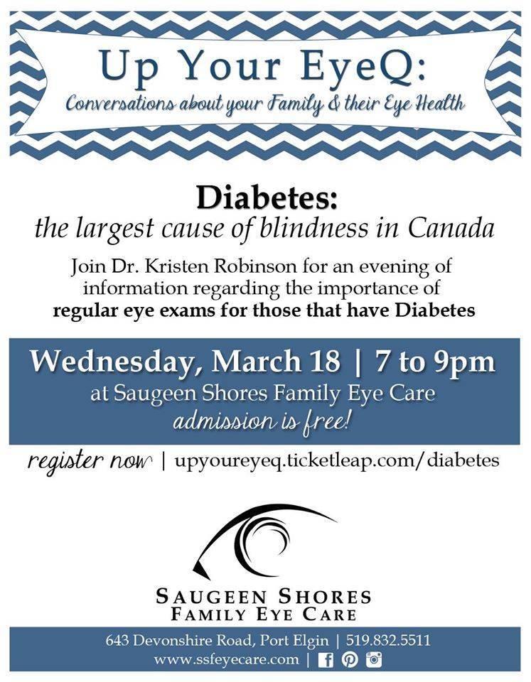 diabetes eye care evening Port Elgin, ON